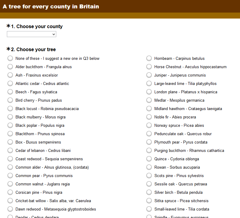 A tree for every British county - click to take the survey